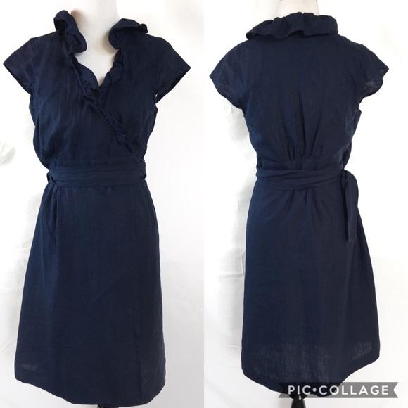f1195931af J. Crew Dresses   Skirts - J. Crew Navy Blue Linen Portico Wrap Dress